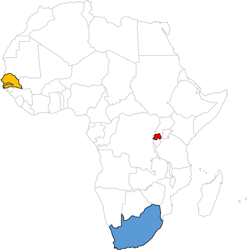Map of Africa with Rwanda, South Africa and Senegal highlighted
